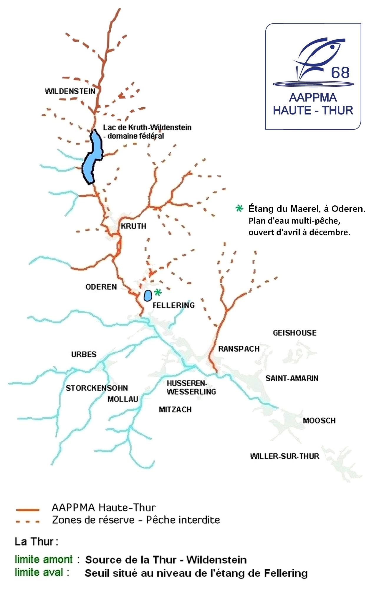 Carte des parcours de pêche